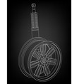 wheel and shock absorber on a black vector image
