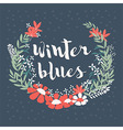 Winter floral arrangement and flowers wreath vector image