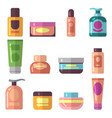 woman beauty cosmetics product flat icons vector image vector image