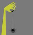zombie hand holding creepy swinging spider vector image