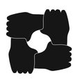 Ring of hands icon in black style isolated on vector image
