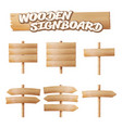 wooden signboards set empty cartoon banner vector image