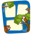 border template with wild animals in forest vector image
