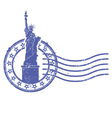 Grunge round stamp with Statue of Liberty vector image