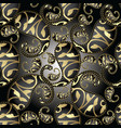 3d paisley seamless pattern floral black vector image