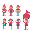 a funny christmas elf performing different actions vector image vector image