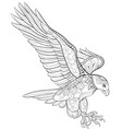 adult coloring bookpage a cute flying eagle image vector image