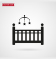 baby bed with crib mobile icon vector image