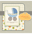 baby boy shower card with stroller vector image