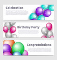birthday party banners with celebration realistic vector image vector image