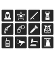 Black law order police and crime icons vector image