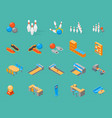 bowling game icons set isometric view vector image