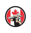 canadian lumber yard worker canada flag icon vector image vector image