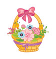 cartoon basket with bow and flowers vector image