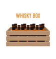 cartoon box with whiskey bottles drink vector image vector image