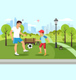cartoon father plays football with son in park vector image