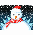 christmas tree on a snowman in the snow at night vector image