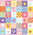 cute kittens clouds and flowers pattern vector image vector image