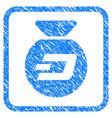 dash money bag framed stamp vector image vector image