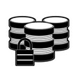 databases with safety lock data center icon image vector image vector image