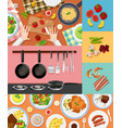different ingredients and food on different vector image vector image