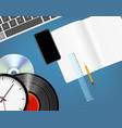 different objects on a blue table music vector image vector image