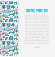 digital printing concept in circle vector image vector image