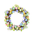easter wreath with eggs vector image vector image