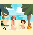 family beach holidays vector image