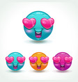 funny cartoon emoji character face in love vector image vector image