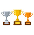 gold silver bronze trophy cups vector image