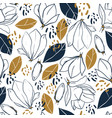 graphic magnolia flowersbudsleaves and spots vector image vector image