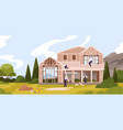 group male workers constructing cottage vector image