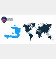 haiti map located on a world map with flag vector image vector image