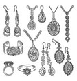 hand drawn pictures set of luxury jewelry vector image vector image