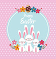 happy easter cute bunnies floral dots background vector image vector image