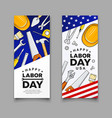 happy labor day construction tools american flag vector image