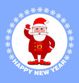 happy new year poster with santa claus on a blue vector image vector image