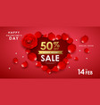 happy valentines day red rose sale vector image vector image