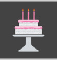 icon pink birthday cake on a stand vector image vector image