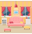 Living room with furniture Cozy interior Flat vector image
