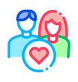 man and girl and heart icon outline vector image vector image