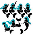 mermaid silhouette set vector image