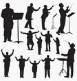music conductor silhouettes vector image vector image