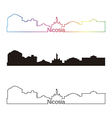 Nicosia skyline linear style with rainbow vector image vector image