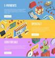 online shopping horizontal flyers set vector image vector image