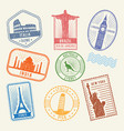 postal stamps with famous world architecture vector image vector image