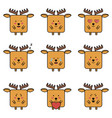 set flat icons a deer with different emotions vector image vector image