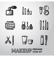 Set of makeup freehand icons vector image