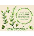 set watercolor branches vector image